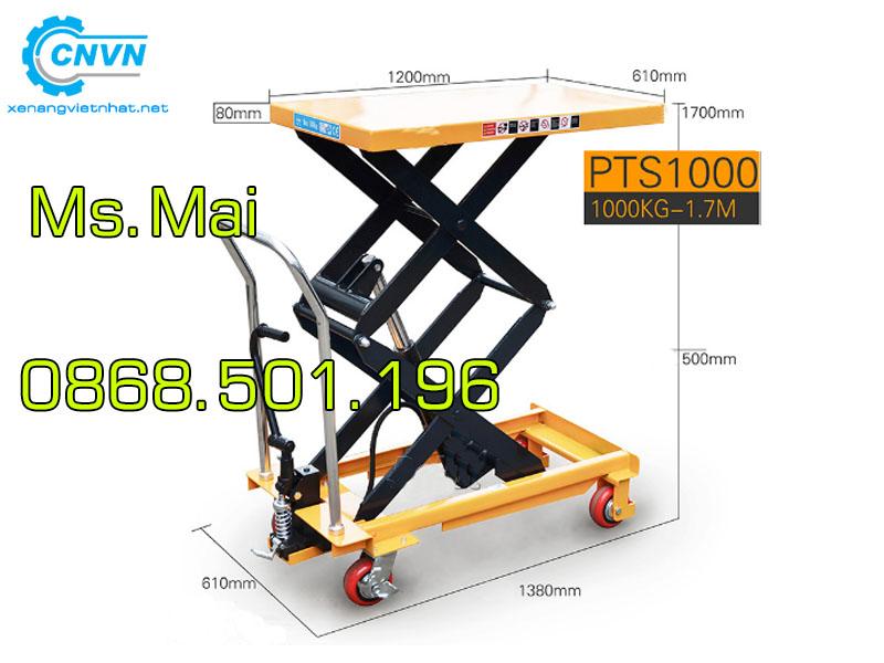 Bàn nâng thủy lực 1 tấn nâng cao 1.7m